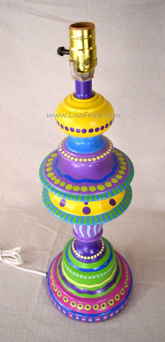 Hand Painted Table Lamp  017 Fun Funky Whimsical and Crazy