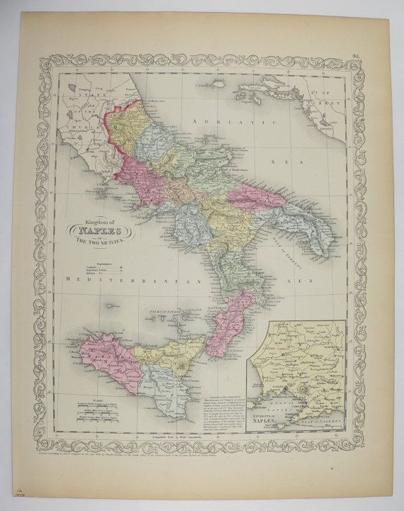 1858 Southern Italy Map Naples Sicily Map 1858 Mitchell Map, Unique Birthday Gift, 1st Anniversary Gift, 1800s Map of Italy Antique Art Gift available from OldMapsandPrints on Etsy