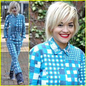 Rita Ora dons a bold blue jumpsuit while stopping by Capital Radio and Key 103 Radio on Wednesday afternoon (April ...