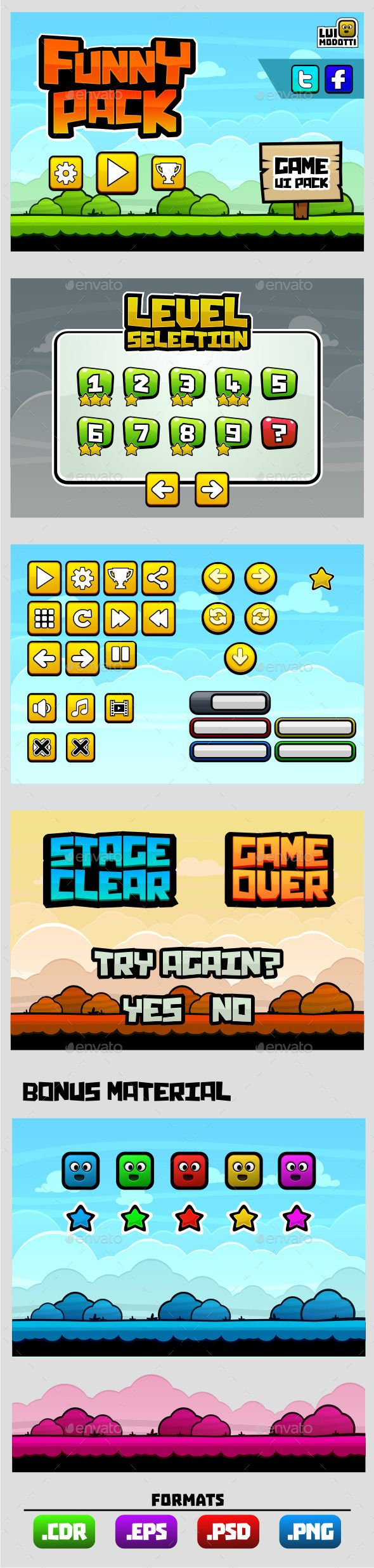 Funny Pack - Game UI Pack Template PSD, Transparent PNG, Vector EPS. Download here: https://graphicriver.net/item/funny-pack-game-ui-pack/9070519?ref=ksioks