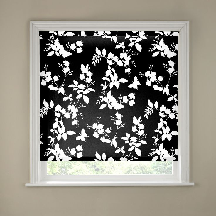 nice 2ft Butterfly Blossom Black and White Roller Blind