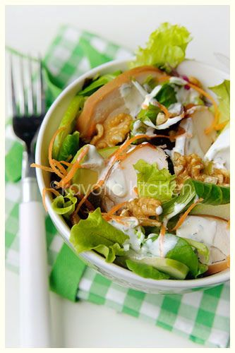 Autumn Salad, from Kayotic Kitchen. Uses smoked chicken breast, apple or pear, walnuts, and avocado with a homemade ranch-style dressing.