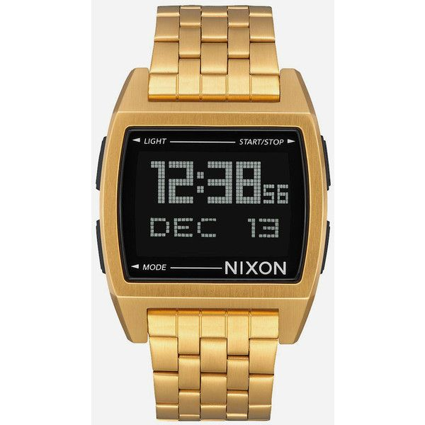Nixon Base Watch (6,325 PHP) ❤ liked on Polyvore featuring men's fashion, men's jewelry, men's watches, blue dial mens watches, mens stainless steel watches, mens digital watches, mens chronograph watches and retro mens watches