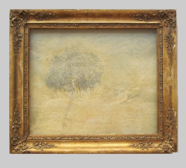 Antonio Bellotti Mist After Mixed Media and Oil on Canvas 50 x 55 cm (Including Frame)  #Art #Oil #Paintings #Mist #Trees