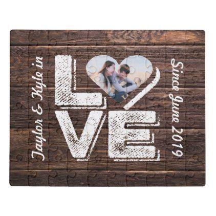 #Love Rustic Woodland Photo Heart Frame Monogram Jigsaw Puzzle - #chalkboard #gifts