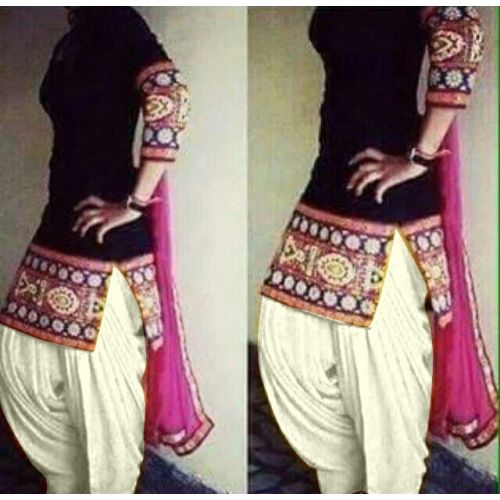 Patiala Brigade Black And Cream Cotton Embroidered Salwar Suit