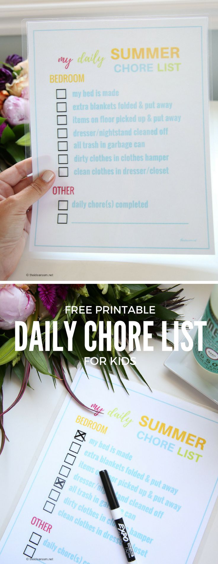 Chore Cards | Parenting | Keep the kids accountable this summer with this Printable Daily Chore List for Kids. Keeps them on task and gets them ready for the day!