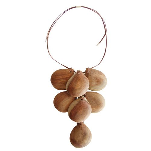 Natural wood pear drop necklace, made by WOODFOLK in Australia