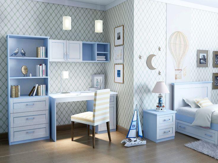 картинка Детская комната для мальчика «VOYAGE 2» небесно-голубой. Компоновка 2 интернет магазин мебели МебПилот.ру