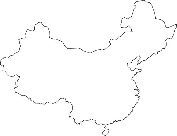 China map printable blank white outline.