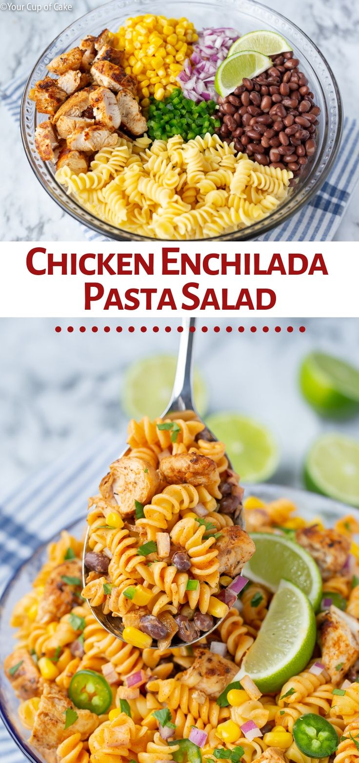 Family favorite! This Chicken Enchilada Pasta Salad recipe is perfect for bbq's …