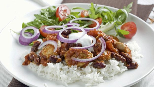 Chicken chilli and rice