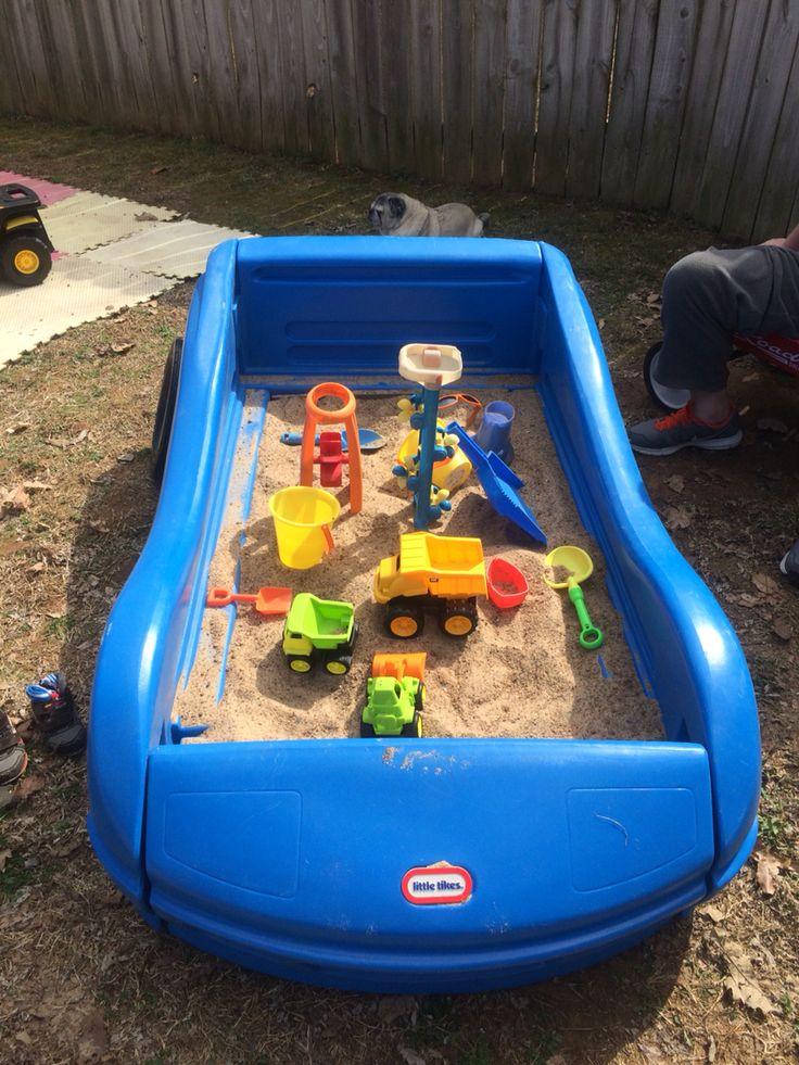 Race car bed frame as a sandbox