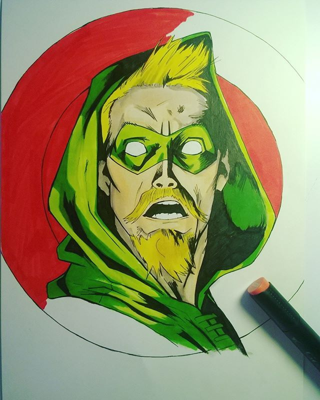 Polecam stronę http://flarrow.pl/ ....#greenarrow #greenarrowofficial  #fanart #yungartist #drawing #draw #illustration #copicmarkers #comic #comicstyle #comicstyleart #marvel