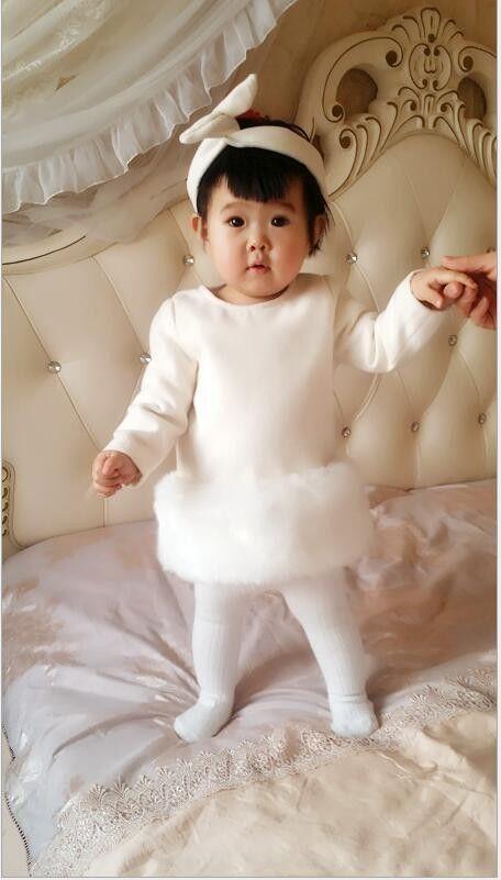 Retail Baby Girl Faux Fur Dress Fall Winter White Luxury