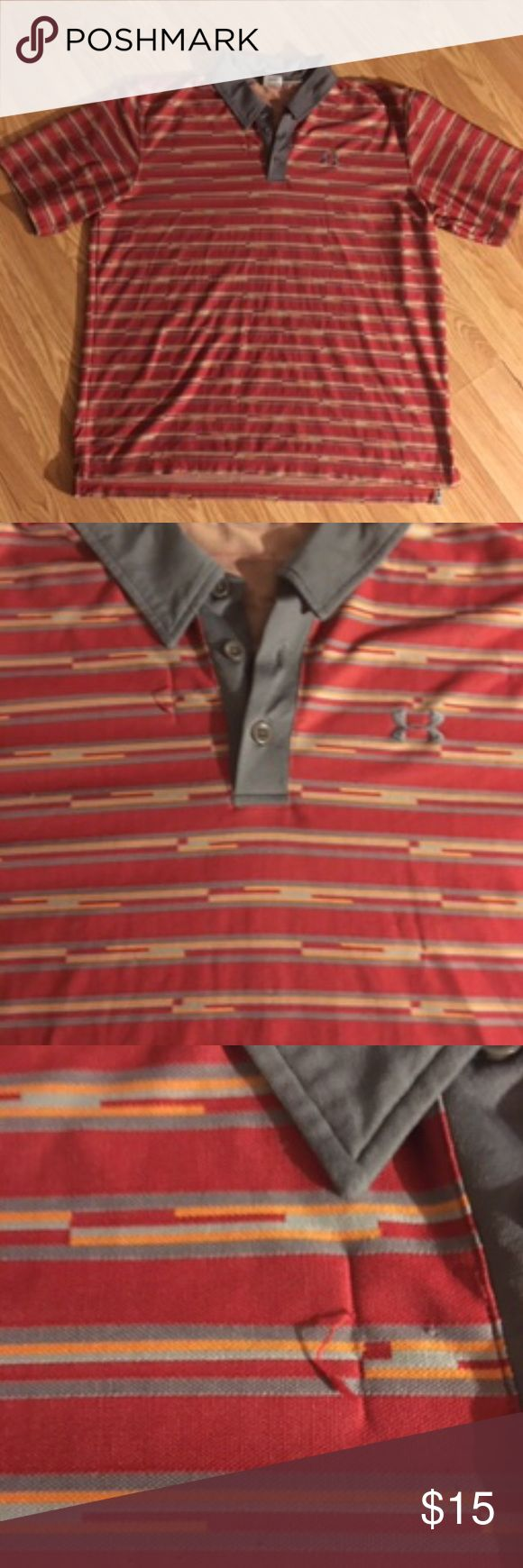 Under Armour Red striped shirt XL Under Armour stripped shirt XL. This is a polo style shirt and it's very nice. This shirt however does have a couple snags (see photos) but it by no means takes away the look of the shirt. Under Armour Shirts Polos