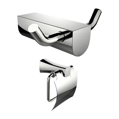 American Imaginations AI-13298 Chrome Plated Toilet Paper Holder and Double Robe Hook Accessory Set