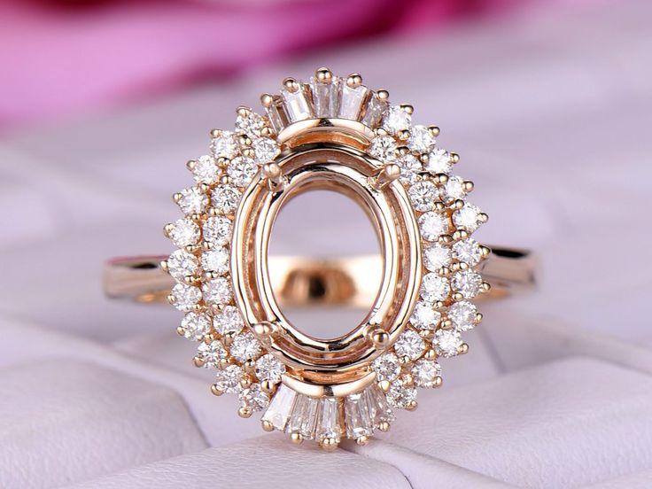 Diamond Engagement Semi Mount Ring 14K Yellow Gold Setting Oval 7x9mm