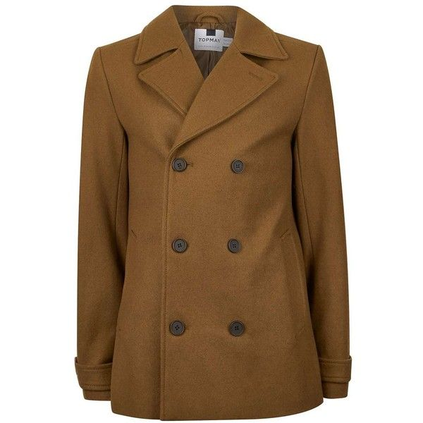 TOPMAN Tobacco Classic Short Double Breasted Peacoat (6.480 RUB) ❤ liked on Polyvore featuring men's fashion, men's clothing, men's outerwear, men's coats, brown, mens double breasted wool coat, mens short trench coat, mens brown pea coat, mens short pea coat and mens double breasted coat