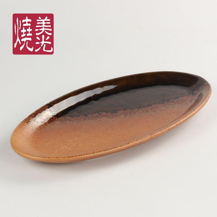 Japanese restaurant tableware&stoneware serving platter E572-P-14031  Size: length 13 inch
