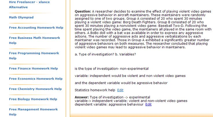 a. Type of investigation? b. Variables?    is the type of investigation- non-experimental  variable: independent would be violent and non violent video games  and the dependent variable would be agressive behavior  Statistics homework help