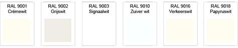 6x verschillende wit soorten. RAL 9001: Crème wit •RAL 9002: Grijswit •RAL 9003: Signaalwit •RAL 9010: Zuiver wit •RAL 9016: Verkeerswit •RAL 9018: Papyruswit
