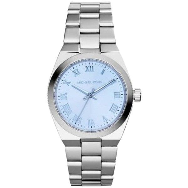 Pre-owned MICHAEL KORS (MK SILVER TONE BLUE Dial Watch ($192) ❤ liked on Polyvore featuring jewelry, watches, accessories, silver, pre owned watches, silver tone watches, preowned watches, silver wrist watch and silver watches
