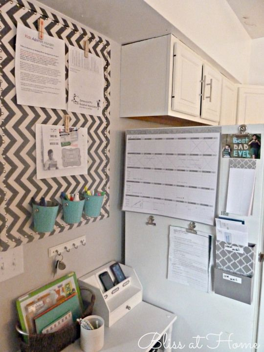 chevron fabric covered pinboard at Mommy Command Center