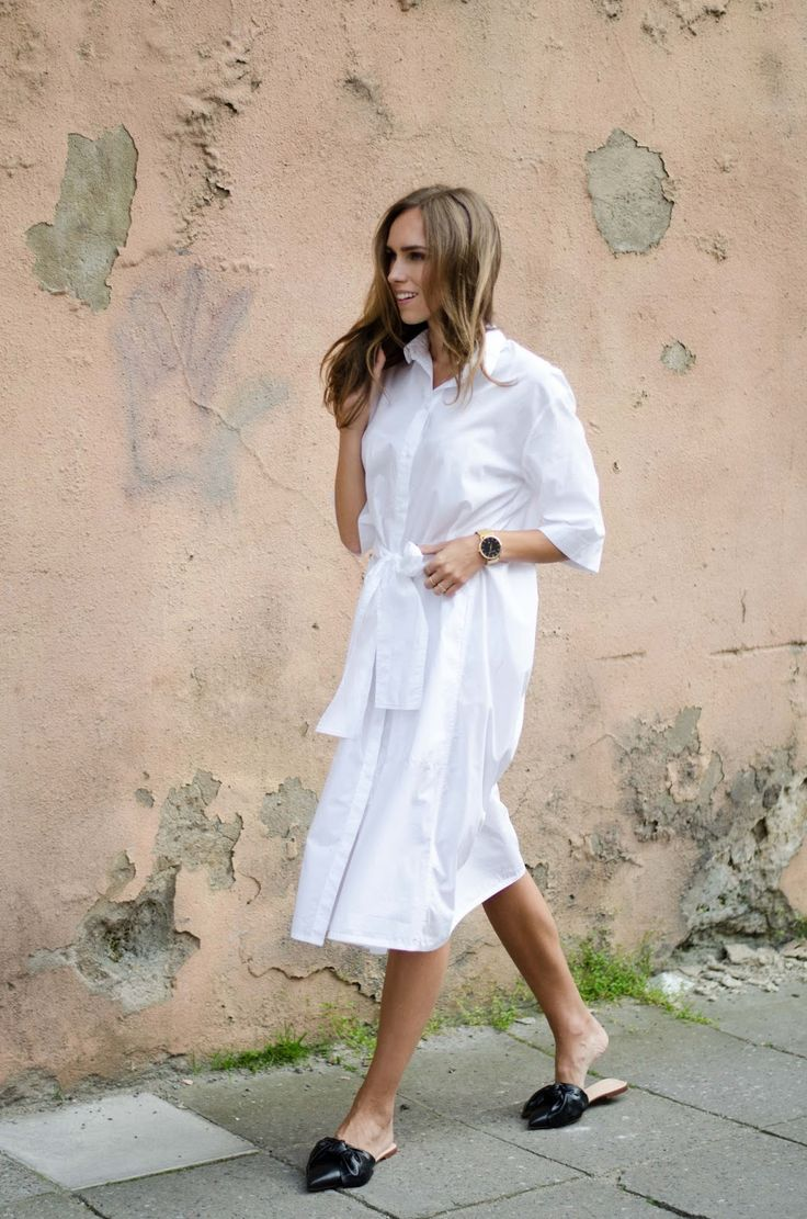 Flat mules shirt dress minimalist summer outfit