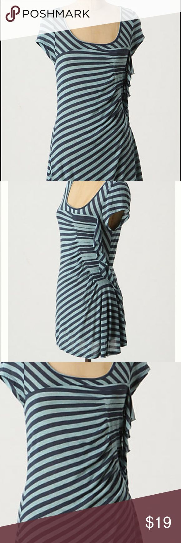 """Anthropologie Cartonnier Dorsal Tee Sz S $58 Cartonnier's skewed modal shirt forms a gathering of streamlined pleats and perky ruffles.  Modal  Machine wash  27""""L  Imported Anthropologie Tops Blouses"""