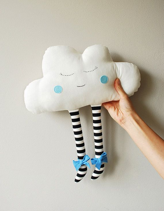 Cloud Doll  Plush Pillow Hand Embroidered Face Blue Cheeks jobuko