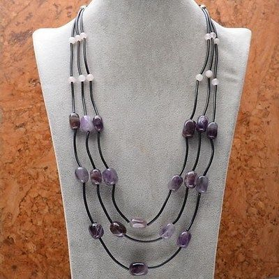 Amethyst and Rose Quartz 3 Strand Necklace - pinned by pin4etsy.com