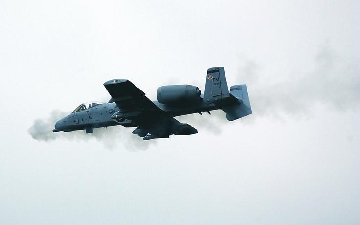 A-10 Thunderbolt ll fires its 30mm seven barrel gatling gun