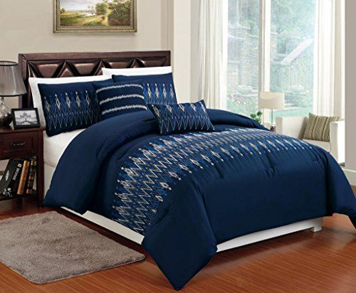 Beautiful 5 PC Navy Blue Comforter Bedding Set with White and Blue Embroidery Design, Queen Size