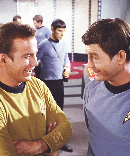 """James T. Kirk and Leonard """"Bones"""" Mccoy (William Shatner and DeForest Kelley). SubCategory: My McKirk Feels are a Painin'!"""