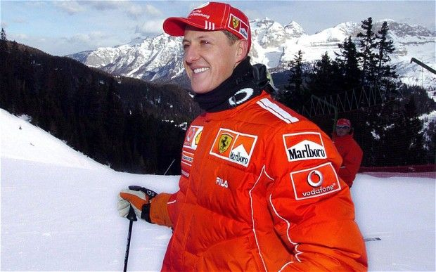 German formula one world champion Michael Schumacher smiles on a piste near the ski resort Madonna di Campiglio, Italy. Michael Schumacher has 'blinked' and is 'responding to instructions' >~:> http://fw.to/IiFCRLS