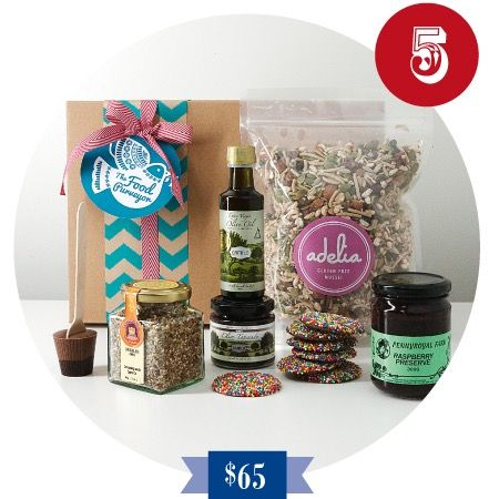 5 Golden Rings Gluten Free Hamper A special Gluten Free Christmas Hamper to show that you have put so much thought into your gift giving.  Featuring Gluten Free Muesli, Fig Jam, Hot Chocolate Spoon, Olive Oil, Dukkah, Black Olive Tapenade and Chocolate Freckles.