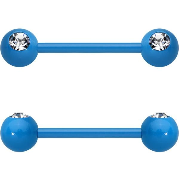 "14 Gauge 5/8"" Clear Gem Blue Acrylic Over Steel Nipple Barbell Set"