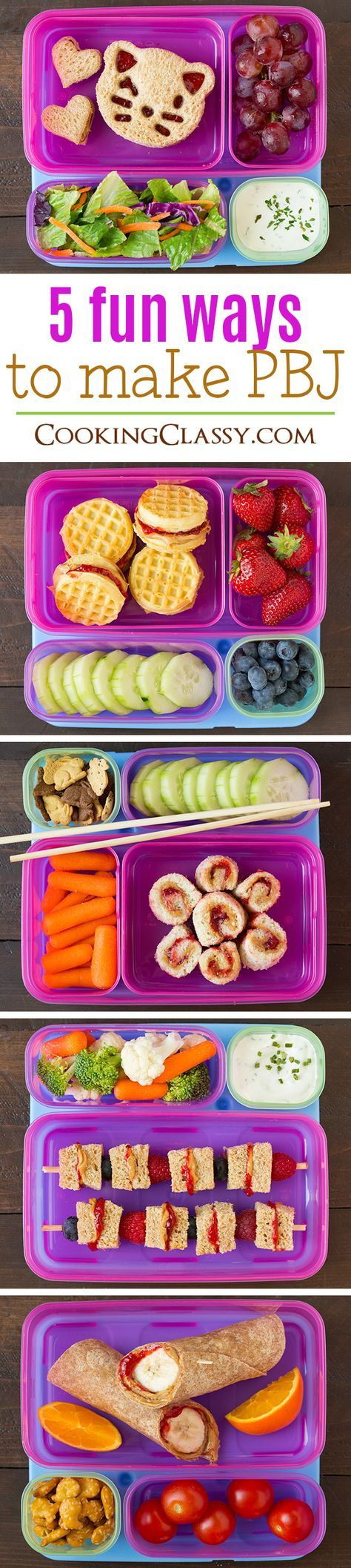 Five Fun Ways to Make a PBJ - my kids thought these were so fun! Perfect for school lunch ideas.