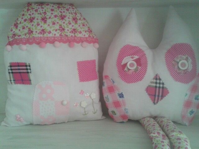 Pink owl & house cushion