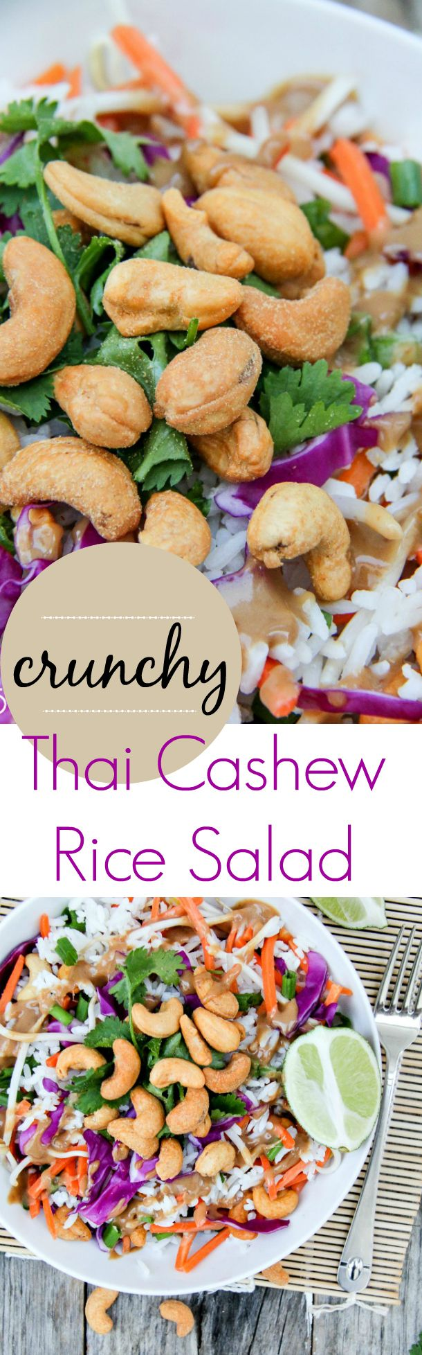 Crunchy Thai Cashew Rice Salad Recipe - Sponsored