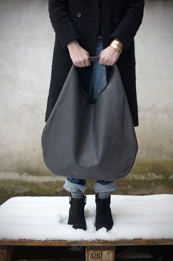 Grey Leather Hobo Bag every day bag tote bag door PatkasBerlin