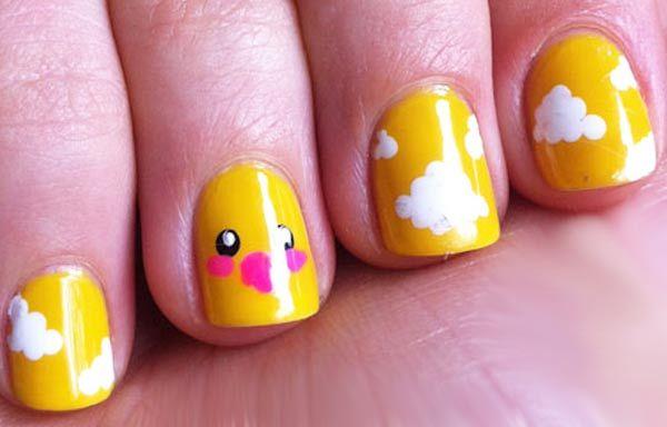 Diseños de uñas para niñas, diseño de uñas para niñas con pollito. Únete al CLUB, síguenos! #diseñatusuñas #nailsdesign #uñasconbrillos