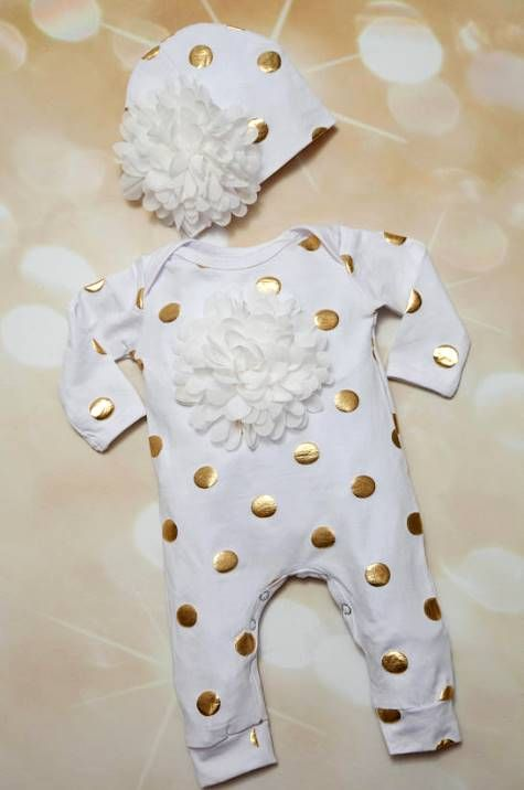 White & Gold Polka Dot Infant Baby Girl Boutique Romper-Infant, White and Gold, Layette, Cotton, Baby, Romper, Off White, Chiffon,Hat, newborn, infant, layette, romper, outfit