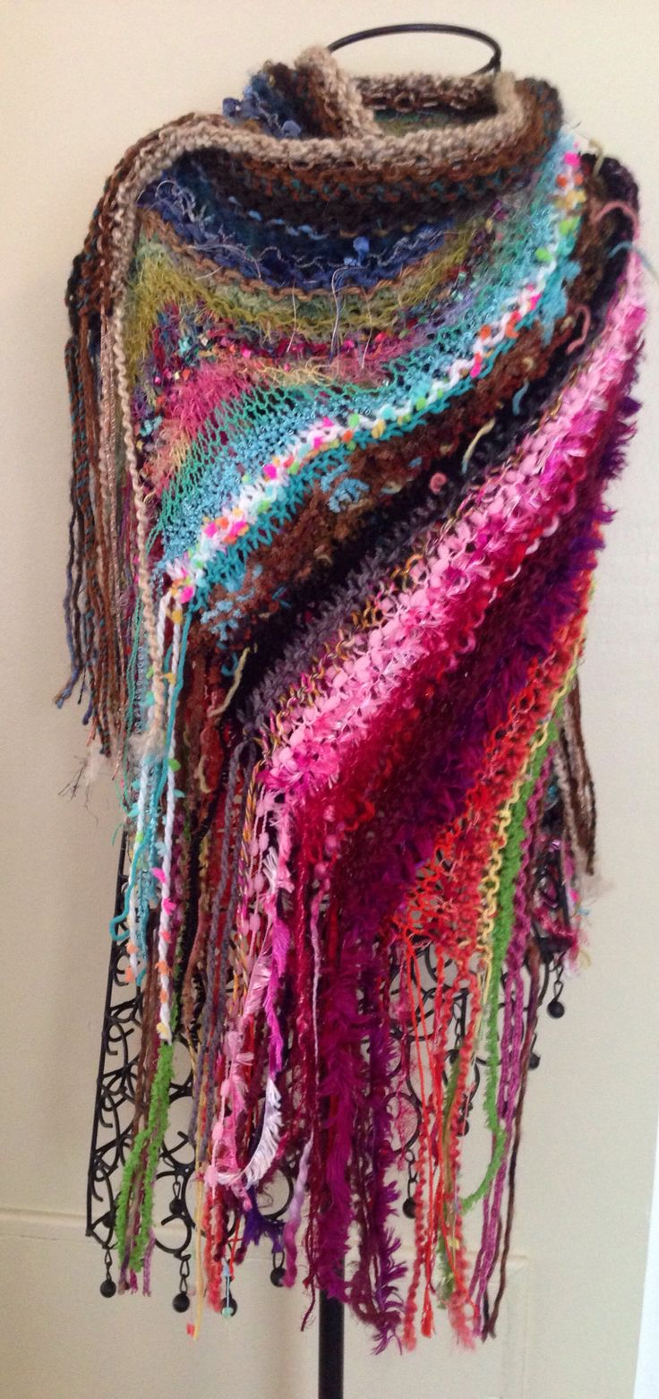 one of a kind hand knit shawl with fringe