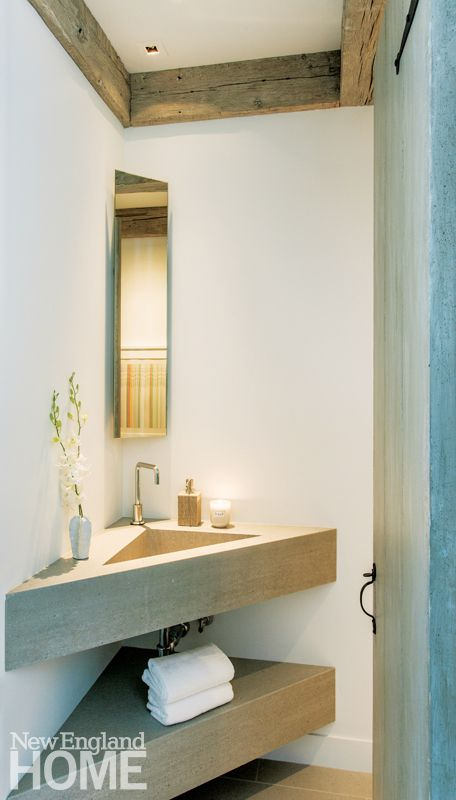 Images On corner vanity unit with sharp angles Hutker Architects Small Powder Room