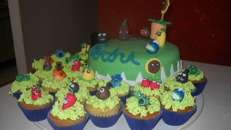 Torta y cupcakes Plantas vs zombies