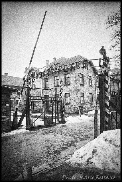 Oświęcim ( KL Auschwitz I ) - note the sign above the gate 'Arbeit Macht Frei' - work will free you. OMG.