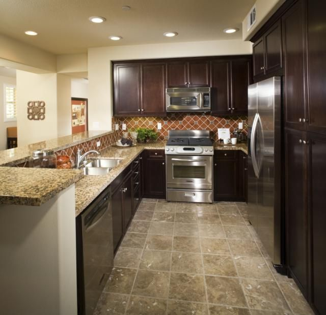 Linoleum Flooring Images: Faux Stone Linoleum Kitchen Floor With Multicolored Features