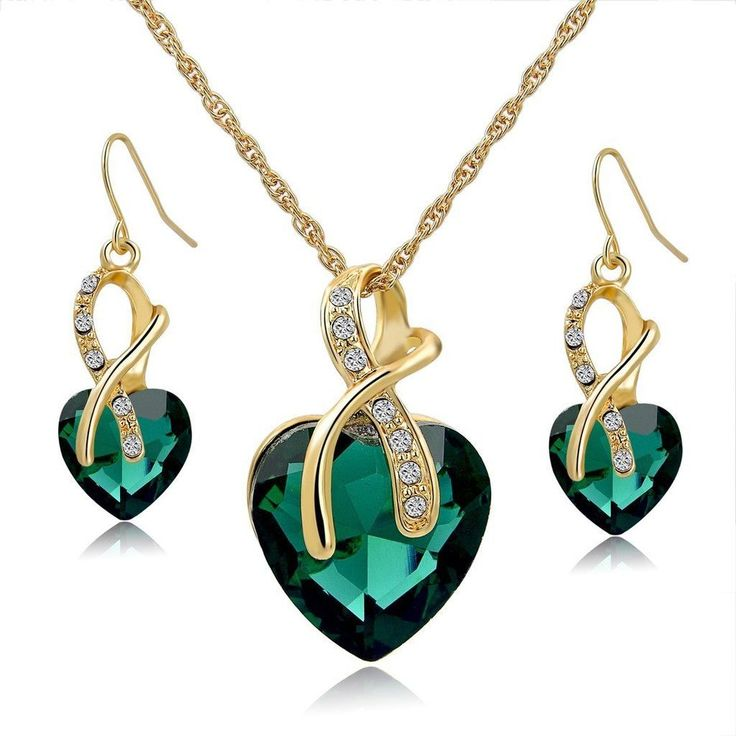 Women Necklace Jewelry Set Wedding Fashion Gold Plated Alloy Earrings Crystal  #LongWay